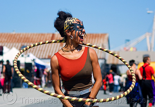 hulahoop - monica - superhero street fair (san francisco), face mask, hula hoop, islais creek promenade, leather mask, people, woman