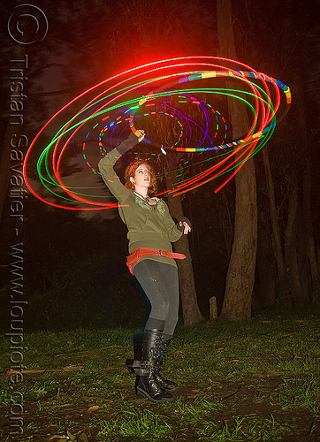 hulahoop with photon LED lights, full moon party, glowing, golden gate park, hooper, hula hoop, hula hooping, led hoop, led lights, light hoop, microlights, night, rave lights, woman