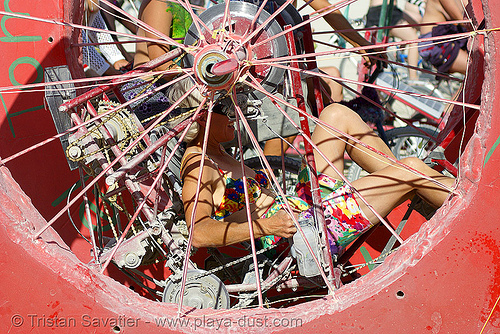 human-powered art car - burning man 2007, art car, burning man, killer tomato, kinetic sculpture racing camp