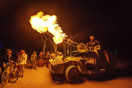 humvee art car shooting fire - burning man 2015, fire cannon, flame, hmmwv, night, people, unidentified art car