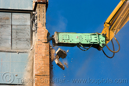 hydraulic hammer breaker - NPK E213 - building demolition, abandoned building, abandoned hospital, at work, attachment, building demolition, caterpillar, heavy equipment, hydraulic breaker, hydraulic hammer, machinery, npk e-213, presidio hospital, presidio landmark apartments, working