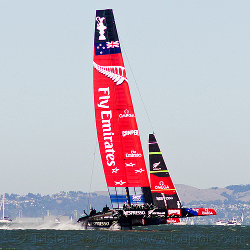 hydrofoil catamaran emirates team new zealand - america's cup 2013 race (san francisco), ac72, advertising, america's cup, bay, boat, catamaran, emirates team new zealand, fast, foiling, hydrofoil catamarans, hydrofoiling, ocean, race, racing, sailboat, sailing hydrofoils, sea, ship, speed, sponsors, water