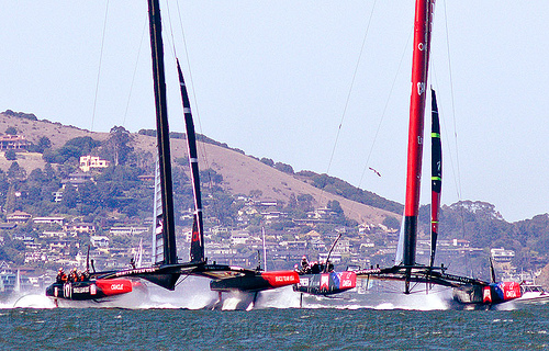hydrofoil catamarans - sailboats, ac72, advertising, america's cup, bay, boats, fast, foiling, hydrofoil catamarans, hydrofoiling, ocean, race, racing, sailboats, sailing hydrofoils, sea, ships, speed, sponsors, water