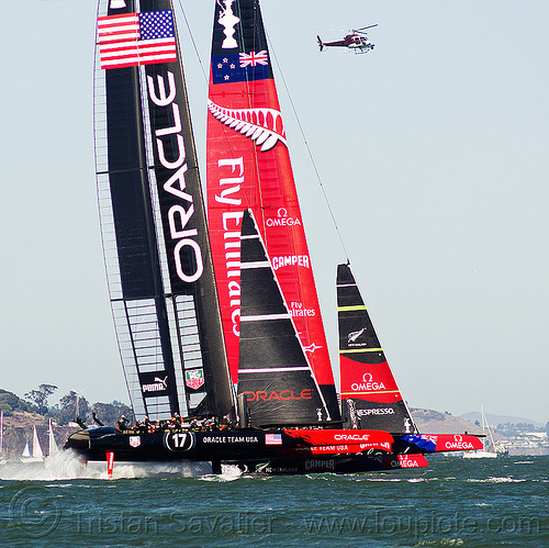 hydrofoil sailboats - neck and neck - america's cup 2013 race (san francisco), ac72, advertising, america's cup, bay, boats, emirates team new zealand, fast, foiling, helicopter, hydrofoil catamarans, hydrofoiling, oracle team usa, race, racing, sailboat, sailing hydrofoils, ships, speed, sponsors