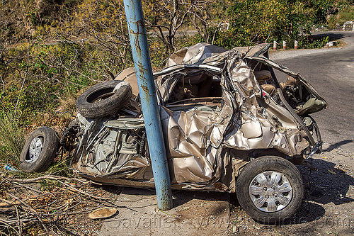 hyundai i10 crash - car totaled in fatal rollover accident on mountain road (india), car accident, car crash, fatal, hyundai i10, road, rollover, traffic accident, wreck