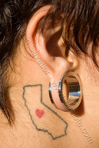 i love you tattoo. I love california tattoo - ear