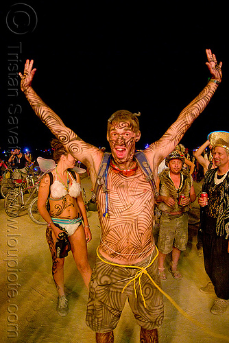 ian - burning man 2009 - body-paint, body art, body paint, body painting, burning man, ian, night, yellow rope