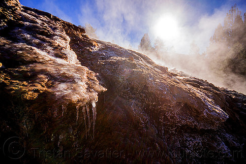 ice formations near steaming hot springs, buckeye hot springs, california, concretions, eastern sierra, ice, icicles, smoke, smoking, steam