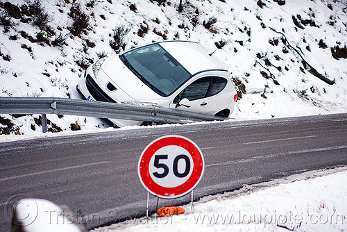 icy road - car in ditch, 50 km/h, black ice, car accident, car crash, ditch, france, guard rail, icy road, peugeot 207, road railing, road sign, round, snow, speed limit, traffic accident, traffic sign, white car, winter
