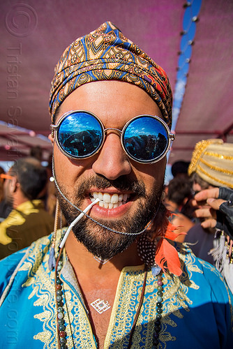 iman hosseini - persian prince - burning man 2016, beard, blue, burning man, chain, hat, mirror sunglasses, persian prince, round sunglasses