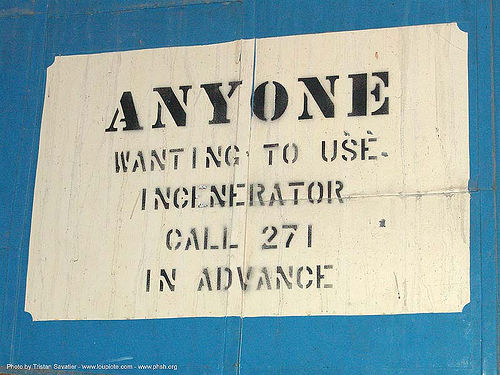 incinerator - abandoned hospital (presidio, san francisco) - phsh, abandoned building, decay, graffiti, presidio hospital, presidio landmark apartments, sign, stencil, trespassing, urban exploration