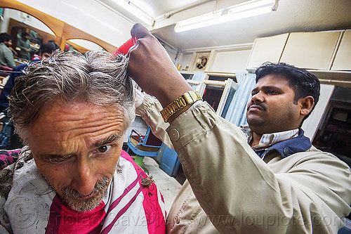 indian barber giving haircut (india), barber, darjeeling, hair salon, haircut, hairdresser, india, men, selfie, selportrait, shop, working