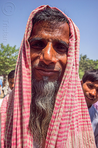 indian man with beard and red headdress (india), beard, headdress, india, man, muslim, west bengal