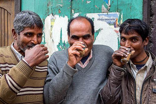 indian men drinking chai (india), chai, darjeeling, drinking, men, milk tea, spice tea, three