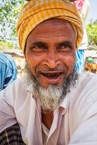 indian muslim man portrait - yellow turban (india), beard, betel nut, headdress, headwear, man, muslim, west bengal, yellow