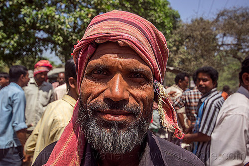 indian muslim man with beard and red headdress (india), beard, man, muslim, west bengal