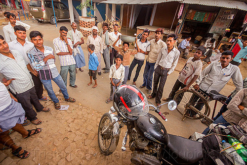 indian people around my royal enfield bullet motorbike (india), boys, bullet, chil, children, crowd, full face helmet, khoaja phool, kids, men, motorbike touring, motorcycle helmet, motorcycle touring, people, royal enfield, thunderbird, village, खोअजा फूल