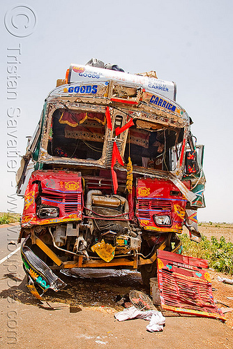 indian truck accident (india), cab, cabin, crushed, fatal, frontal collision, head-on collision, lorry, road crash, tata motors, traffic accident, traffic crash, truck accident, wreck