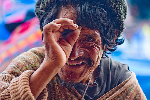 indigenous man looking through fingers (bolivia), fingers, hand, indigenous, looking, man, quechua, tarabuco