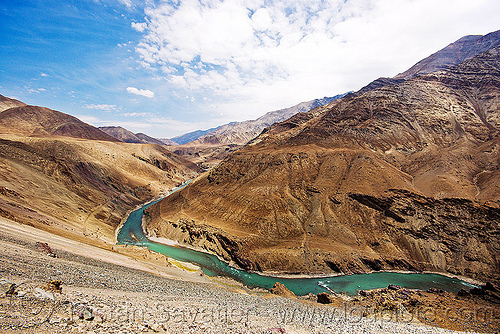 indus river - ladakh (india), india, indus river, ladakh, mountains, river bed