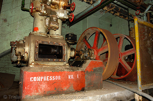 industrial compressor pump, abandoned factory, compressor, derelict, industrial, pipes, pump, tie's warehouse, trespassing, valves, wheels