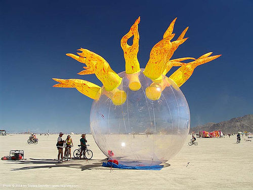 inflatable art with flames / fire - burning-man 2004, art installation, ball, burning man, fire, flames, inflatable art