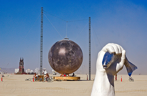 inflatable moon and fisherman - burning man 2012, art installation, fish, fisherman, hand, inflatable art, inflatable moon