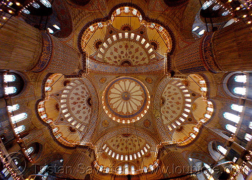 inside the blue mosque, architecture, fisheye, interior, islam, istanbul, religion, sultanahmet