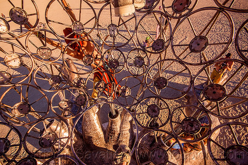 inside brainchild cage - burning man 2015, art installation, brainchild, cage, metal, michael christian, rings, sculpture