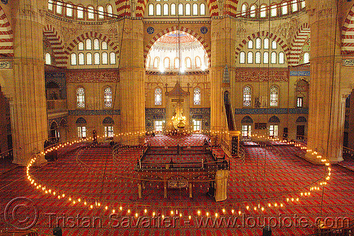 inside the selimiye mosque (edirne, turkey), architecture, circle, edirne, inside, interior, islam, religion, selimiye mosque