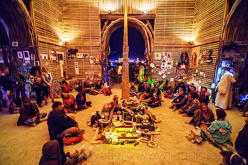 inside the temple - burning man 2016, burning man, inside, interior, mementos, night, sitting, temple