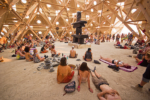 inside the temple of whollyness - burning man 2013, interior, people