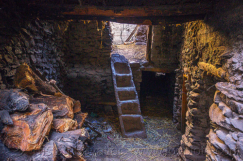 inside a traditional house in the himalaya mountains - kagbeni village (nepal), annapurnas, house, inside, interior, kagbeni, kali gandaki valley, ladder, stairs, steps, trunk, village, wood, wooden