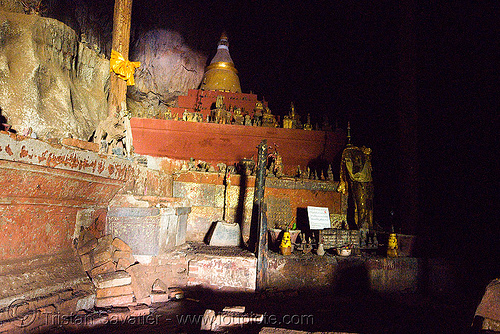 inside the upper pak ou cave near luang prabang (laos), buddha images, buddha statues, buddhism, caving, cross-legged, damaged, luang prabang, natural cave, old, pak ou caves temples, sculpture, spelunking, statue