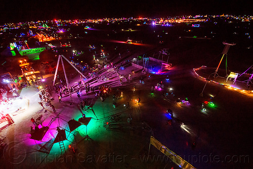 is glowing at night - burning man 2015, burning man, glowing, night, sextant tower, sin city