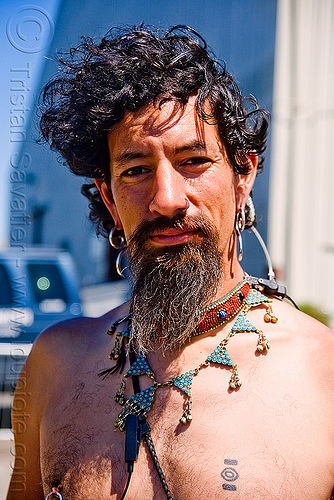 isaac - superhero street fair (san francisco), beard, earrings, isaac, islais creek promenade, man, necklace, superhero street fair