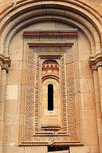 Işhan monastery - georgian church ruin (turkey), byzantine architecture, decoration, geometric, georgian church ruins, ishan church, ishan monastery, işhan, low-relief, motives, orthodox christian, window
