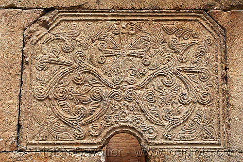 Işhan monastery - georgian church ruin (turkey), byzantine architecture, carving, cross, decoration, detail, floral, geometric, georgian church, ishan monastery, işhan church, low-relief, motives, orthodox christian, religion, ruins, stone