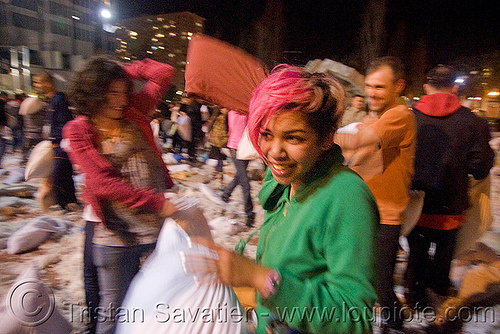 isis at the great san francisco pillow fight 2009, down feathers, isis, night, pillow fight club, pillows, pink hair, world pillow fight day