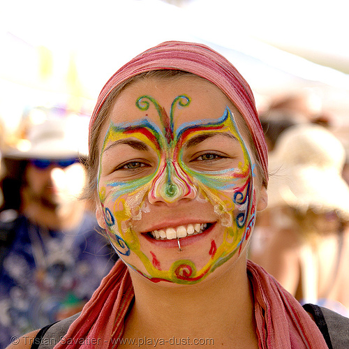 italian burner with face paint - burning man 2007, center camp, face painting, facepaint, makeup, painted, rainbow colors, woman