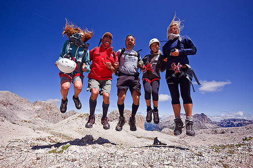 italian family jumping - via scalette trail (dolomites), alps, climbers, climbing helmet, dolomites, dolomiti, family, five, jump, jumpshot, men, mountain climbing, mountaineer, mountaineering, mountains, rock climbing, via ferrata, via scalette, women