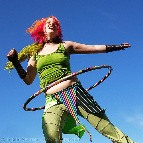 ivy with hula hoop, blue, hula hoop, hula hooping, ivy, rainbow colors, woman