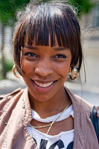 jade - young african american woman portrait (san francisco), african american woman, black woman, earrings, fashion, jade, nose piercing, nostril piercing, young woman