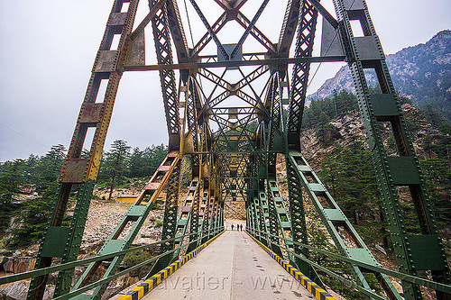 jadh ganga bridge - gangotri road (india), bhagirathi valley, infrastructure, jadh ganga bridge, metal, road, single lane, truss bridge