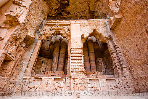 jain temple - gwalior (india), caves, jainism, rock-cut, sculptures, statue, temples, tirthankaras