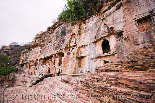 jain temple - gwalior (india), caves, gwalior, jain temple, jainism, rock-cut, temples