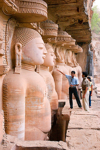jain temple - gwalior (india), caves, himanshu gupta, jainism, people, rock-cut, sculptures, statue, temples, tirthankaras