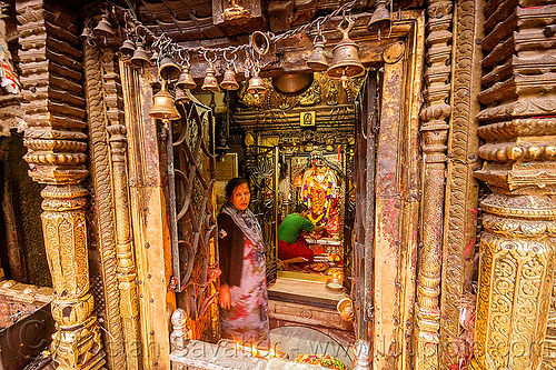 jana baha dyah temple - string of bells - golden door - kathmandu (nepal), bells, door, golden, hindu temple, hinduism, jana baha, jana bahal, kathmandu, man, woman