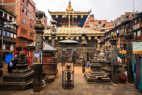 jana baha temple - kathmandu (nepal), columns, hindu temple, hinduism, jana baha, jana bahal, kathmandu, stone, street
