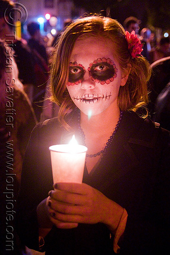 janelle - skull makeup - dia de los muertos - halloween (san francisco), candle, candlelight vigil, day of the dead, dia de los muertos, face painting, facepaint, halloween, janelle, night, sugar skull makeup, woman